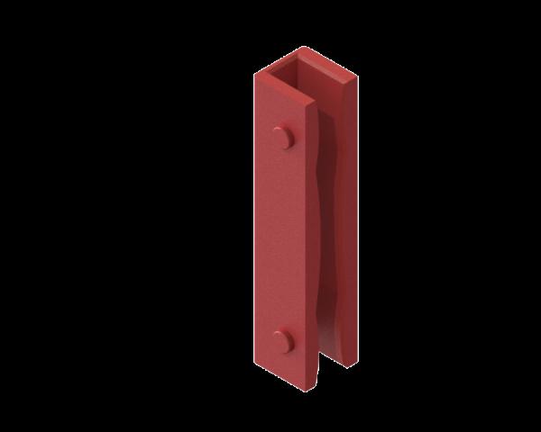 """Führungsschuh-Einlagen """"Sonderprofile"""" aus ACLATHAN®-KH, rot, ballig, Länge L = 125 mm"""